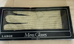 mens gloves  String Back Gloves Tan Large VINTAGE Driving