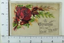 Victorian Christmas New Year's Sample Copy Trade Card Rose Lily Of Valley F62