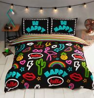 Rapport Be Happy Neon Effect Funky Novelty Reversible Duvet Cover Bedding Set