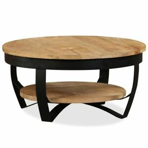 vidaXL Solid Mango Wood Coffee Table Retro Living Room Rough Side End Couch
