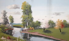 ANTIQUE GOUACHE PAINTING RIVER LANDSCAPE