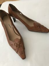 Naturalizer Brown Tan Leather Slip On Square Heel Women Pumps Size 11 M