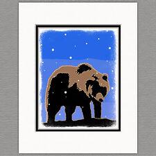 Grizzly Bear Winter Graphics Snow Original 8x10 Art Print Matted 11x14