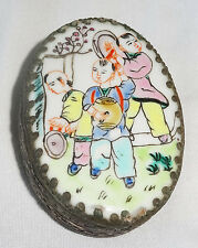 """20CT Chinese oval Silver Box w. Porcelain Top """"Children Motif Famile Rose (Ver)"""