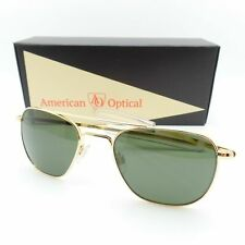 AO American Optical Original Pilot 52mm 23k Gold Green Nylon Bayonet Sunglasses