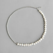 Woman S925 Sterling Silver Natural Baroque Freshwater Pearl Bead Chain Choker