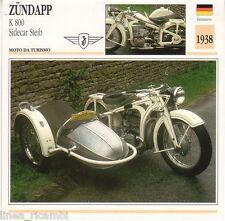 Scheda moto plastificata ZUNDAPP K 800 Sidecar Steib - Moto da turismo - 1938
