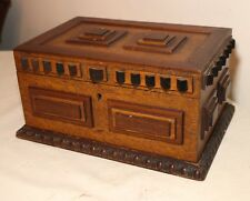 quality antique detailed handmade carved wood studded Tramp Art jewelry box