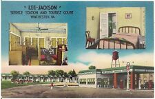 Lee-Jackson Service Station and Tourist Court in Winchester VA Postcard Texaco