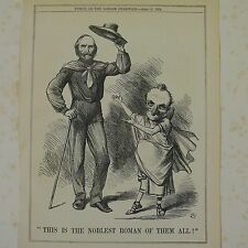 """7x10"""" punch cartoon 1864 THIS IS THE NOBLEST ROMAN OF THEM ALL Victor Emmanuel"""