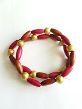 PAIR OF WOOD BEAD BRACELETS, PINK/BROWN/GOLD, APPROX 16cm, GOOD CONDITION