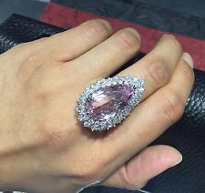 Vintage Natural Pink Kunzite and Diamond Halo 18K Gold Statement Cocktail Ring