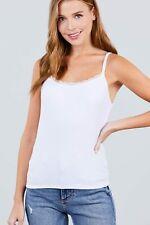 Lace Trim Rib Cami Knit Top Off White
