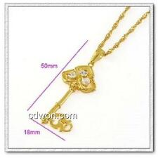 18k gold ep diamond simulated key necklace comes with 18 inch chain
