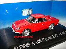 UNIVERSAL HOBBIES 5065U ALPINE RENAULT  A108 COUPE 2+2 ROUGE 1961 au 1/43 °
