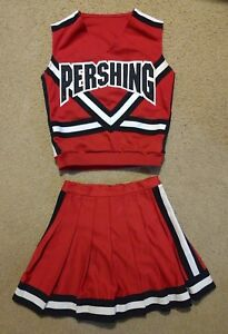 Authentic Real Cheer Pershing Generals CDT Cheerleading Uniform Red White Black