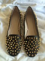 Zara Black Leather Slippers Flat Shoes Gold Rose Studs Rare 6 39