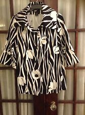 Attention Black & White Tunic Jacket Coat ~Large Buttons~ Size X Small