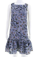 Erdem Womens Floral Sleeveless Pleated Mid-Calf Dress Blue Size Small