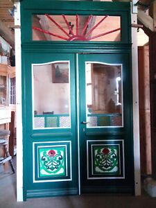 Antike Haustür, aus Pitchpine/ Kiefer, ein schöner Blickfang für jedes Haus