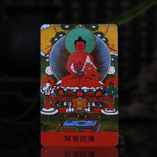 """3.4"""" Tibet Tibetan Buddhism Exquisite painting Amulet thangka Amitabha Buddha"""