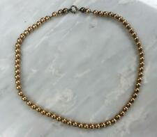 """~ 20.4 g ~ 8-I1344 Yellow Gold Filled Beaded Necklace 14-1/2"""""""