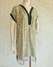 Gold Woven Fringe Tunic Top Art to Wear Lagenlook Size S M