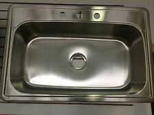 "NEW 33"" x 22"" Top Mount Drop In 3-Hole STAINLESS STEEL Single Bowl Kitchen Sink."