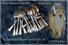 Pierre Queille Antique French Sterling Dessert Flatware