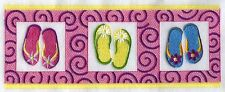 FLIP FLOPS GALORE EMBROIDERED SET 2 BATHROOM HAND TOWELS BY LAURA