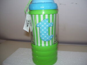 """Mud Pie Initial """"T"""" Sip-n-Munch Baby Cup, Blue and Green, NEW"""