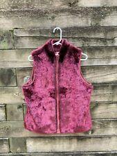 Vintage Women's Live a Little RED Fur Leather Vest USED Size Large