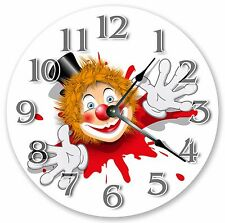 """10.5"""" REDHAIRED CLOWN IN WHITE GLOVES CLOCK Large 10.5"""" Wall Clock Decor - 3157"""