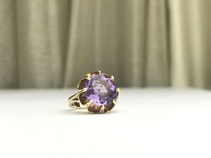 Solid 14k Yellow Gold Vintage 6CT Synthetic Amethyst Cocktail Ring 8.6 G