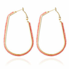 Gold Plated Hoop Earrings Rhinestone for Women Lady Jewelry