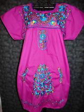 NEW Mexican Oaxacan Puebla Embroidered Mini Dress Tunic Peasant Purple 2X