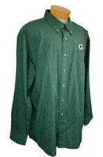 Antigua Green Bay Packers Shirt Long Sleeve Button Up XXL 2XL Green Check Plaid