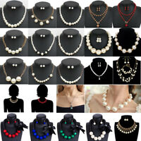 Women Fashion Pendant Pearl Choker Chunky Statement Chain Bib Necklace Jewelry