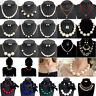 Women Fashion Pendant Pearl Choker Chunky Statement Chain Bib Necklace Jewelry