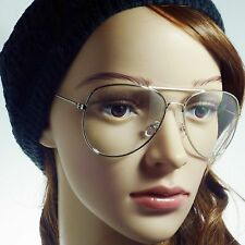 a614ea62dd8e 60s Retro Aviator Metal Unisex Frame Trendy Clear Lens Eye Glasses SILVER  NEW