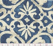 Blue Beige Floral Print Upholstery Fabric Colonnade Indigo BTY