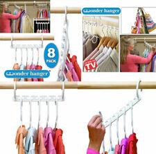 Wonder Plastic Clip Hangers Clothes Coat Trouser Skirt 8Pc Wardrobe Hanger 1Set