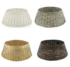 Christmas Tree Base Floor Cover Wicker Skirt Stand Decoration Willow Wood Rattan