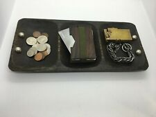 Antique Coconut Dark Wood Men's Valet Tray w/ Sterling Silver .925 Father's Day