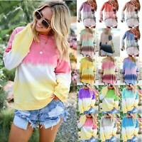 Womens Casual Gradient Tie Dye Long Sleeve Top Pullover Loose Sweatshirt T-Shirt