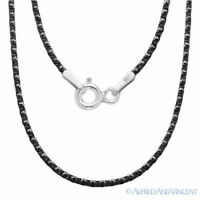 .925 Sterling Silver Black Rhodium 1mm 4-Sided Snake Link Italian Chain Necklace