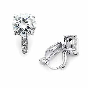 2.0 Cwt. Cubic Zirconia Clip On Stud Earrings Round Solitaire; 8mm