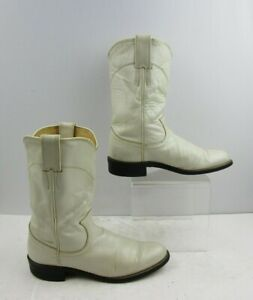 Ladies Justin Ivory White Leather Roper Western Cowgirl Boots Size: 6.5 B