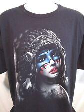 Sexy Native American Girl Graphic Black Men's T Shirt Size 3XL