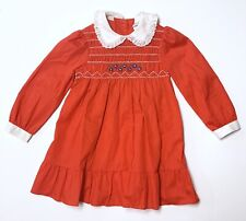 Vtg 80s Pioneer Girl Hand Smocked Dress Red Ruffles White Lace Trim Girls Sz 5